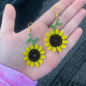 Sunflower seed bead earrings